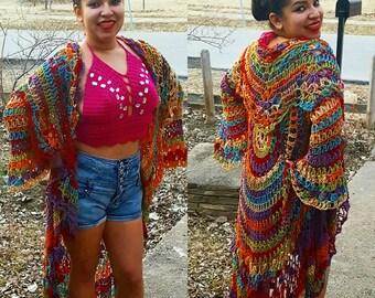 Crochet Bohemian Jacket Many Sizes Available