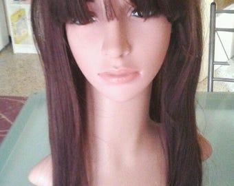 dark brown long hair wig sintetic brown cute woman