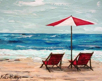 beach umbrella and chairs, original seascape painting, Summer vacation at the ocean, wall art, home decor, gift