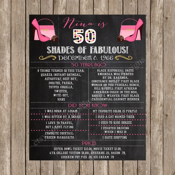 Fifty Shades of Fabulous Birthday Sign - Shoes Purses and Chocolate Birthday Chalkboard Sign - 50 and Fabulous - Fifty and Fabulous - Shoes