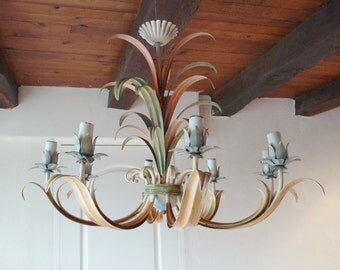 Vintage French Toleware Chandelier, Eight Light, Excellent Condition, 24 Inches Tall and 30 Inches Wide, Original Fittings, Circa 1930