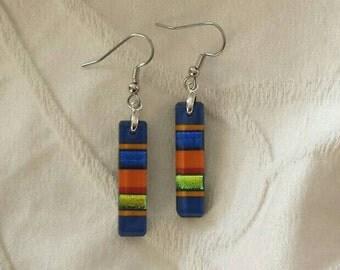 Blue dichroic glass earrings, Blue, orange and green dichroic glass jewelry, Fused dichroic glass dangle earrings, EA214