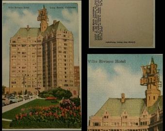 Vintage Villa Riviera hotel Long  Beach postcard.