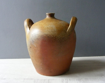 Antique French  stoneware Oil Jar,Pottery.Country Home Decor.