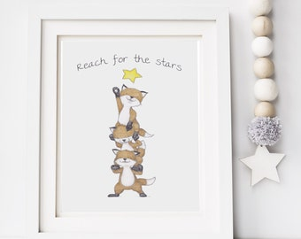 Reach for the stars - nursery art - Fox illustration - baby print - baby decor - nursery wall art - gift for baby - kids drawing - woodland