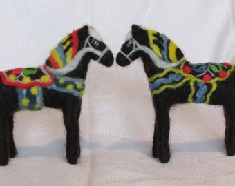 Black Dala Horse Felted  medium