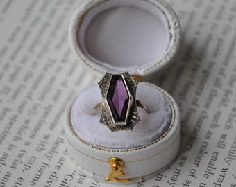 Antique Sterling Ring -1920s Art Deco Ring, Purple Glass Stone