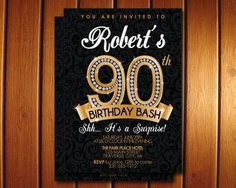 90th Birthday Invitation - Diamond Milestone Adult Birthday Party Invitation