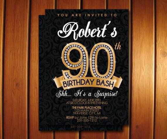 90th birthday invitation diamond milestone adult birthday party il570xn filmwisefo