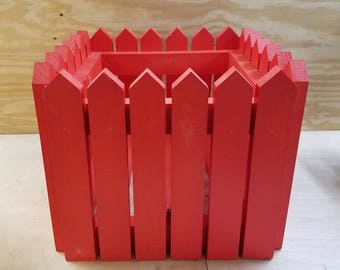 Handcrafted Picket Fence Planter - Red