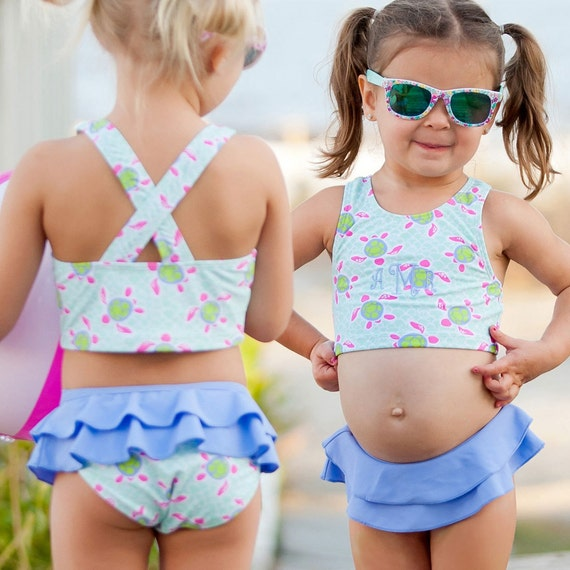 Turtle Tide girls swim suit monogrammed bathing suit girls bathing suit toddler bathing suit toddler suit girls toddlers monogram suit gift