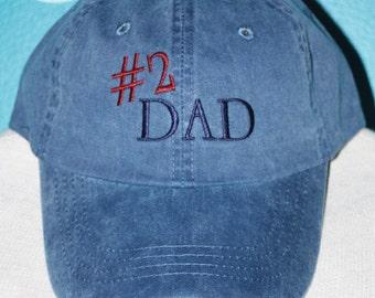 Custom Baseball Cap - # 2 Dad embroidered baseball cap - Great custom gift - baseball hat embroidered