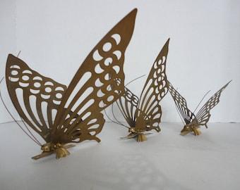 Vintage Set of 3 Brass Butterflies
