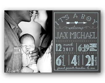 Baby Boy Birth Announcement - Printable Birth Announcement Card - Personalized - Chalkboard Blue