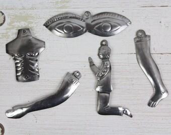 LARGE MILAGROS- Handmade Mexican Tin Ornaments (Set of 5)- Arm- Hand- Sacred Heart- Christmas Tree- Fiesta- Handprinted