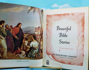 Beautiful  Bible Bible Stories 1963, Illustrated Bible Story Book, gift