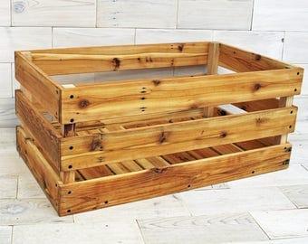 "Reclaimed Cedar Milk Crate 32"" x 20"" x 12"" . . . (aka vinyl record storage basket, handmade box, rustic storage crate, bin)"