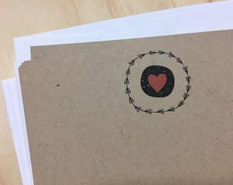 vintage inspired heart stationery set, vintage heart and wreath notecards, heart note set