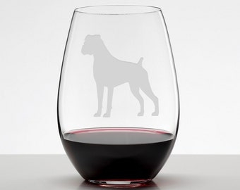 Boxer Floppy Ear Etched Stemless Wineglass