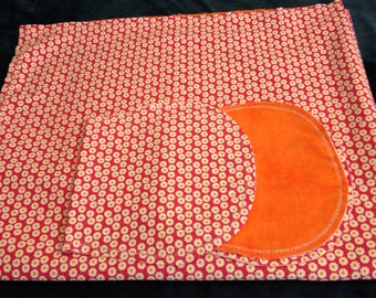 Orange Flowers with Orange Backing Hemstitched Baby Blanket and Burps ready for you to crochet by Lindas Hemstitching