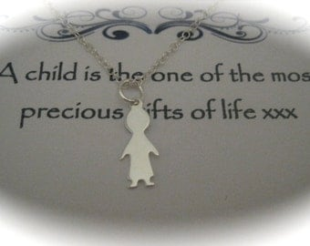 Sterling Silver Child Charm Necklace - a perfect gift for a new Mom
