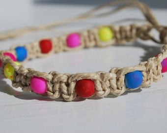 Thick Hemp Anklet with Brightly Colored Beads