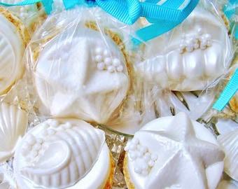 "Chocolate Covered Oreo Cookies ~ Beach Wedding Favors Edible Seashells On A ""SANDY"" Beach ~ Hawaiian Luau Party Favor ~ Unique Wedding Favor"