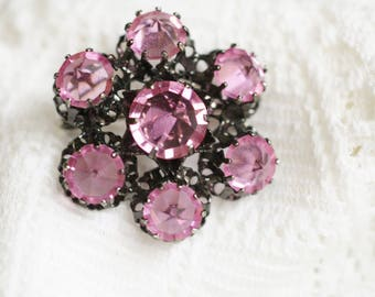 Vintage Austria Pink Rhinestones Brooch Pin - Japanned Metal Round Brooch Pin - Unique Small Rhinestones Style, Special Gift for Her