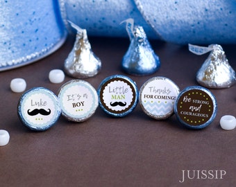 Printed for you custom baby shower hershey kiss label Hershey kiss sticker It's a boy Stache baby shower favor Mustache  Birthday Party