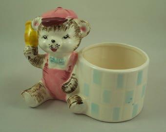 Vintage Ceramic Teddy Bear Planter - Grant Crest Japan