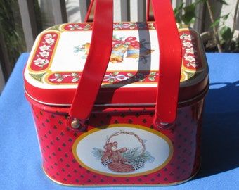 Vintage Christmas Metal Tin With Handles Hong Kong