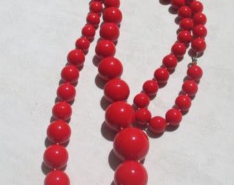 Retro Bright Red Beaded Long Necklace