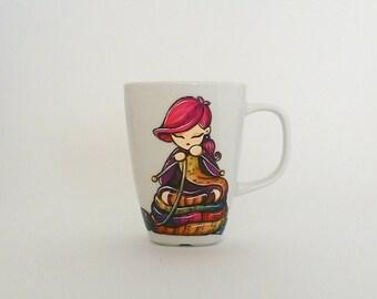 """Mug """"I knit so I don't kill people"""" - hand painted in Italy"""