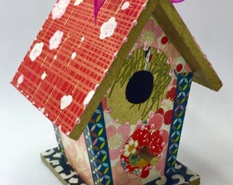 Colorful Red  and Pink Flowers Washi Wooden Birdhouse Ornament