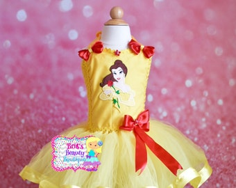 Inspired by Belle Ribbon Trimmed Tutu Dress/Pageant Tutu Dress/Costume Tutu Dress/Character Tutu Dress/Photography Prop