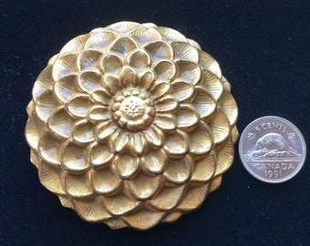 Vintage Brooch Large Flower Statement Gold Tone