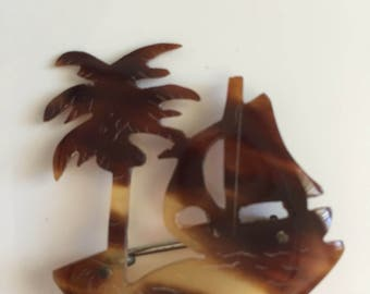 Vintage Pin Brooch Early Plastic Lucite Tortoise Etched