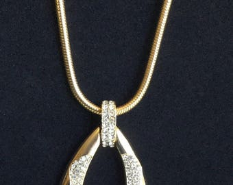 Vintage Trifari Rhinestone Goldtone Necklace Hang Tag 1960's