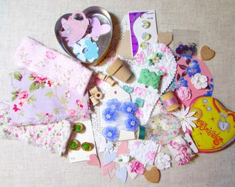 LOT Hand Frayed Ribbon Cottage Inspiration Kit - DIY - Buttons Roses - Brighton Tin - Bobbins Hearts Paper - Craft Quilt Journal 704