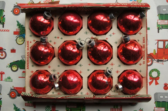 Coby Glass Christmas Tree Ornaments : Red coby christmas ornaments box of vintage glass