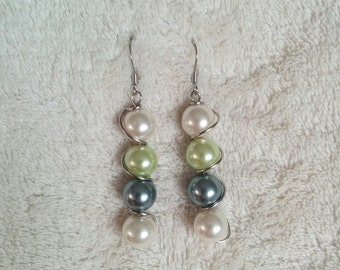 Wire Wrapped Stainless Steel Twisted Spiral Earrings with 4 Pearlized Glass Beads