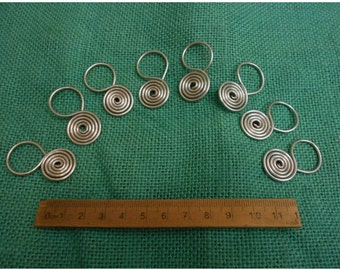 set of 8 severian temple rings in tinned copper 11thc slavic reenactment use