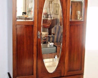 Locking Armoire Antique Tri Beveled Oval Mirror Inlays Wardrobe Gentlemans Closet with bottom drawer Insured Nation Wide Shipping Available