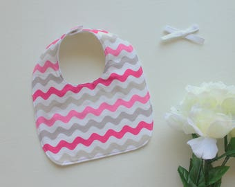 Baby Girl's Bib - Pink Striped Bib - Drooling Bib - Infant Bib - Early Feeding Bib - Baby Shower Gift - Baby Gift - Made 4U Handmade Designs