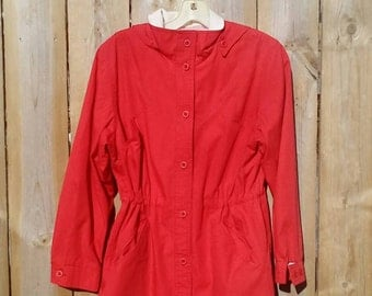 1980's  Red London Fog Cotton Twill Hooded Jacket Women's Size 6