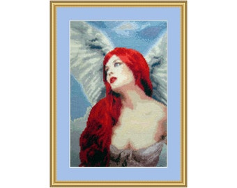 Cross Stitch kit Angelic Red, Angel, fairy