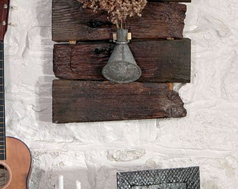 Reclaimed wood wall bud vase