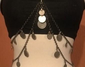 Tribal Fusion gunmetal silver kuchi coin drape