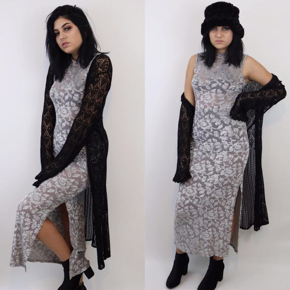 Black Vintage Crochet Sheer Layering Cardigan - 90's Long Goth Grunge Crochet See Through Cover Up - XL Extra Large Witch Gothic Kimono