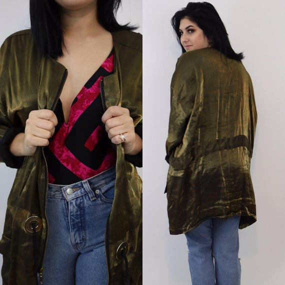 80's Gold Light Jacket - Shimmery Medium/Large Spring Jacket - Vintage Women Drawstring Waist - Metallic Shiny Golden Jacket with Grommets